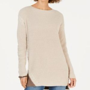 Cable-Trimmed High-Low Tunic Sweater